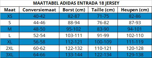 Adidas sportshirt maattabel