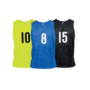 15 trainingshesjes met nummer 1 t/m 15